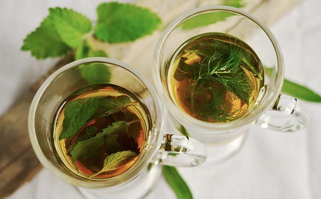 Herbatę ziołową można parzyć także ze świeżo zebranych ziół, które można trzymać w donicy na parapecie. Na zdjęciu herbata z miętą oraz koperkiem w szklankach na białym obrusie.